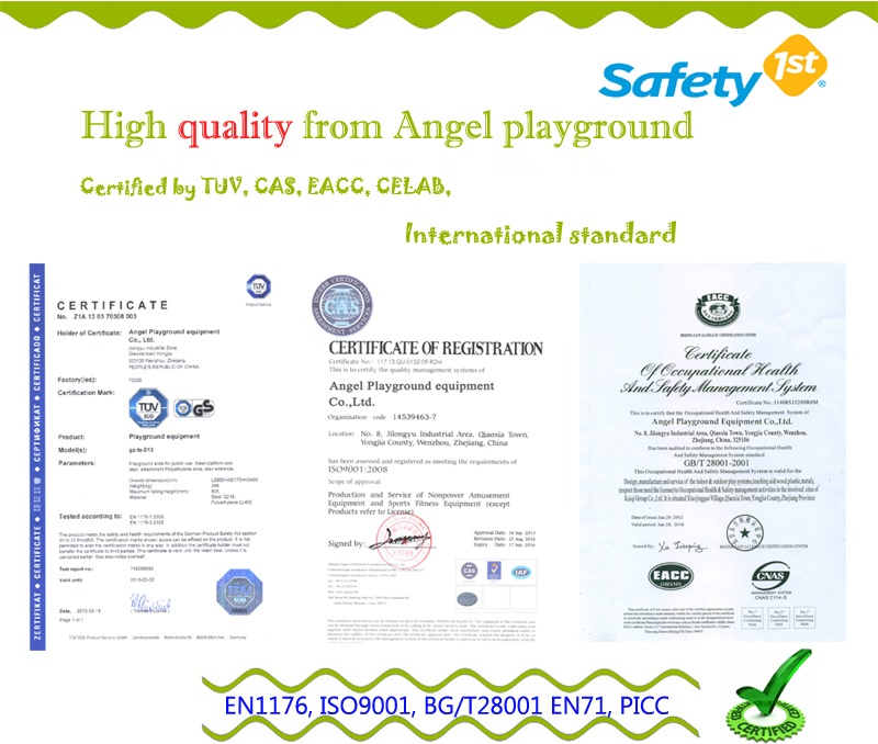 plastic outdoor playgrounds - certification
